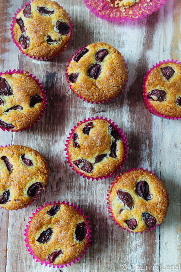 Muffin Cereja Fubá | Muffins Cherry Cornmeal | Cozinha Legal Recipes